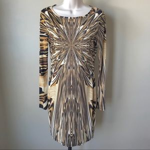 Topshop Gold/Black Fitted Long Sleeve Dress Size 8